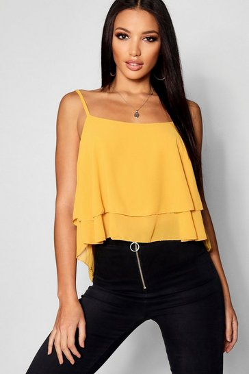 Womens Mustard Woven Double Layer Cami Top