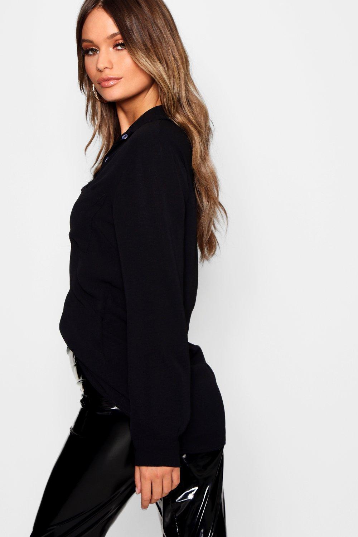 crepé Camisa Camisa crepé negro crepé en en negro Camisa negro Camisa en vCwAcpq