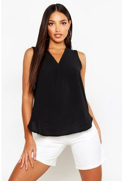 Womens Black Woven Sleeveless V Neck Pleat Front Blouse