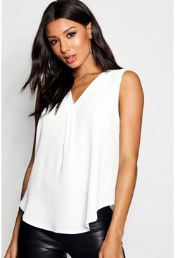 Womens White Woven Sleeveless V Neck Pleat Front Blouse