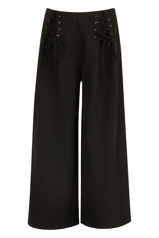 encaje negro acampanados Pantalones con de detalle tejido RI4IFqwC