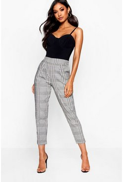 Womens Soft pink Prince Of Wales Check Tapered Trouser