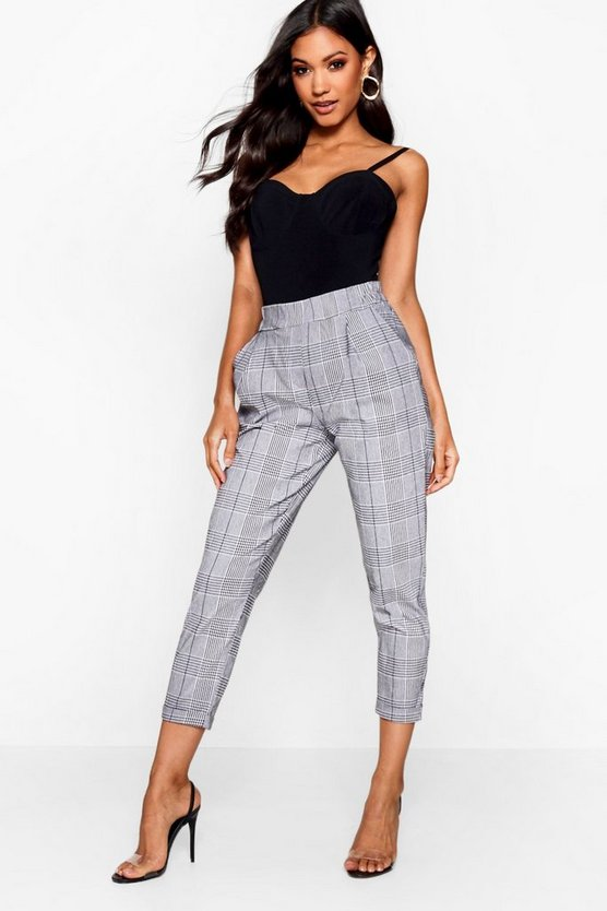 Womens White Prince Of Wales Check Tapered Pants