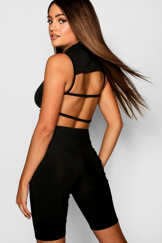 High Neck Strappy Back Crop