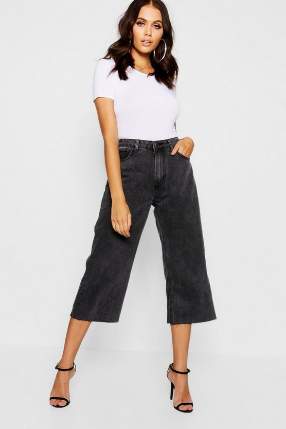 Womens Black High Waist Wide Leg Cropped Jeans