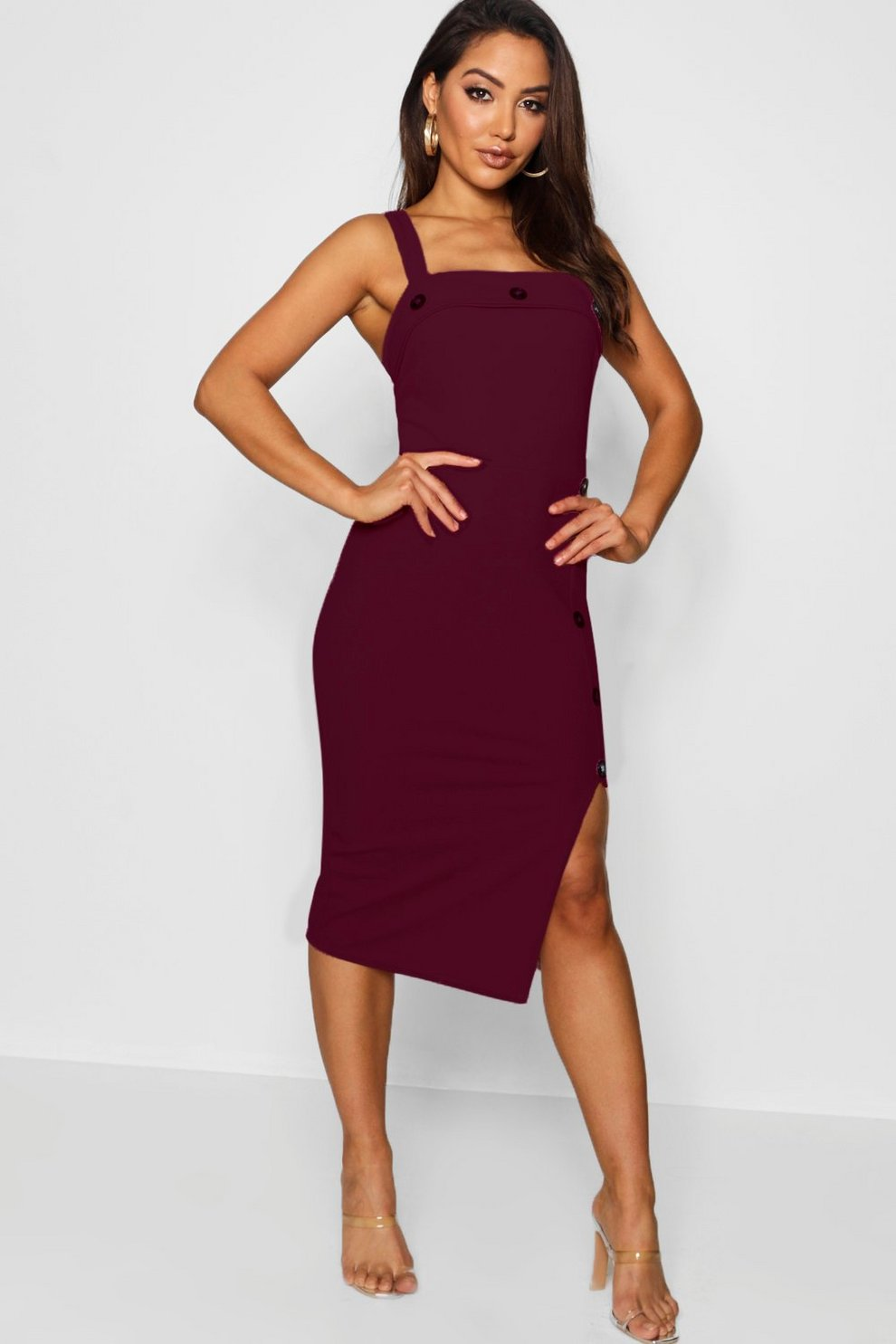 e84a3c150dfd Womens Berry Button Detail Midi Dress. Hover to zoom