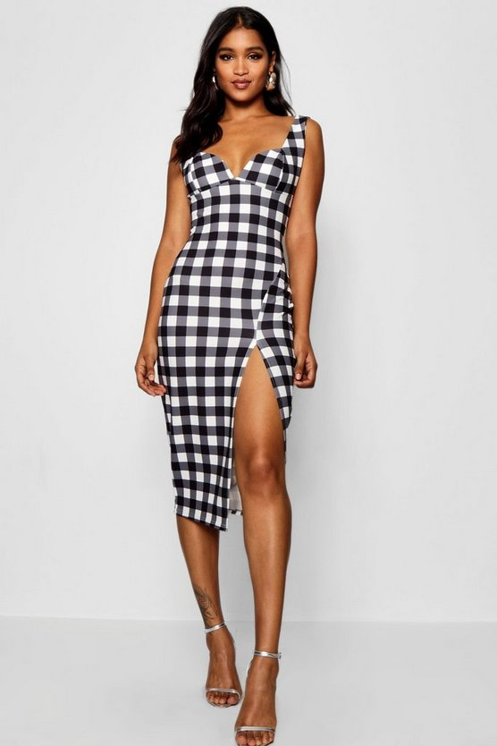 Gingham Bustier Midi Dress