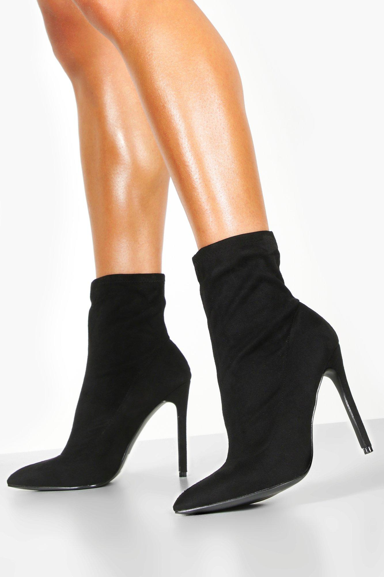 Womens Pointed Toe Stiletto Sock Boots - Black - 3