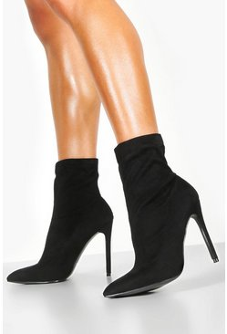 Black Pointed Toe Stiletto Sock Boots