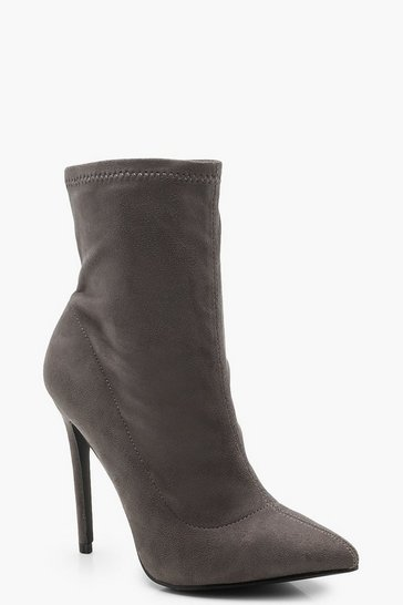 Womens Grey Pointed Toe Stiletto Sock Boots