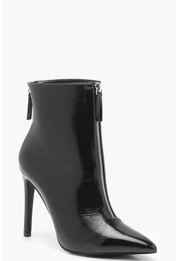 Womens Black Zip Detail Pointed Shoe Boots