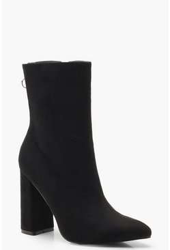 Dam Black Pointed Block Heel Sock Boots