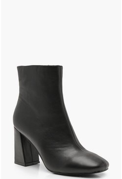 Womens Black Flared Heel Shoe Boots