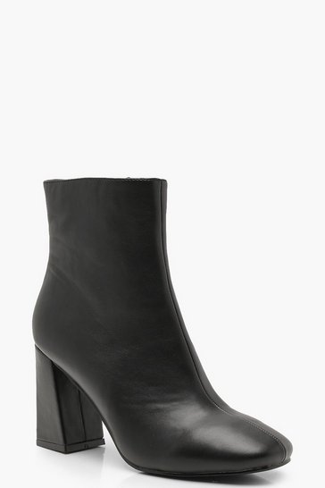 Black Flared Heel Shoe Boots