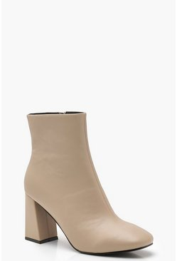 Dam Natural Flared Heel Shoe Boots