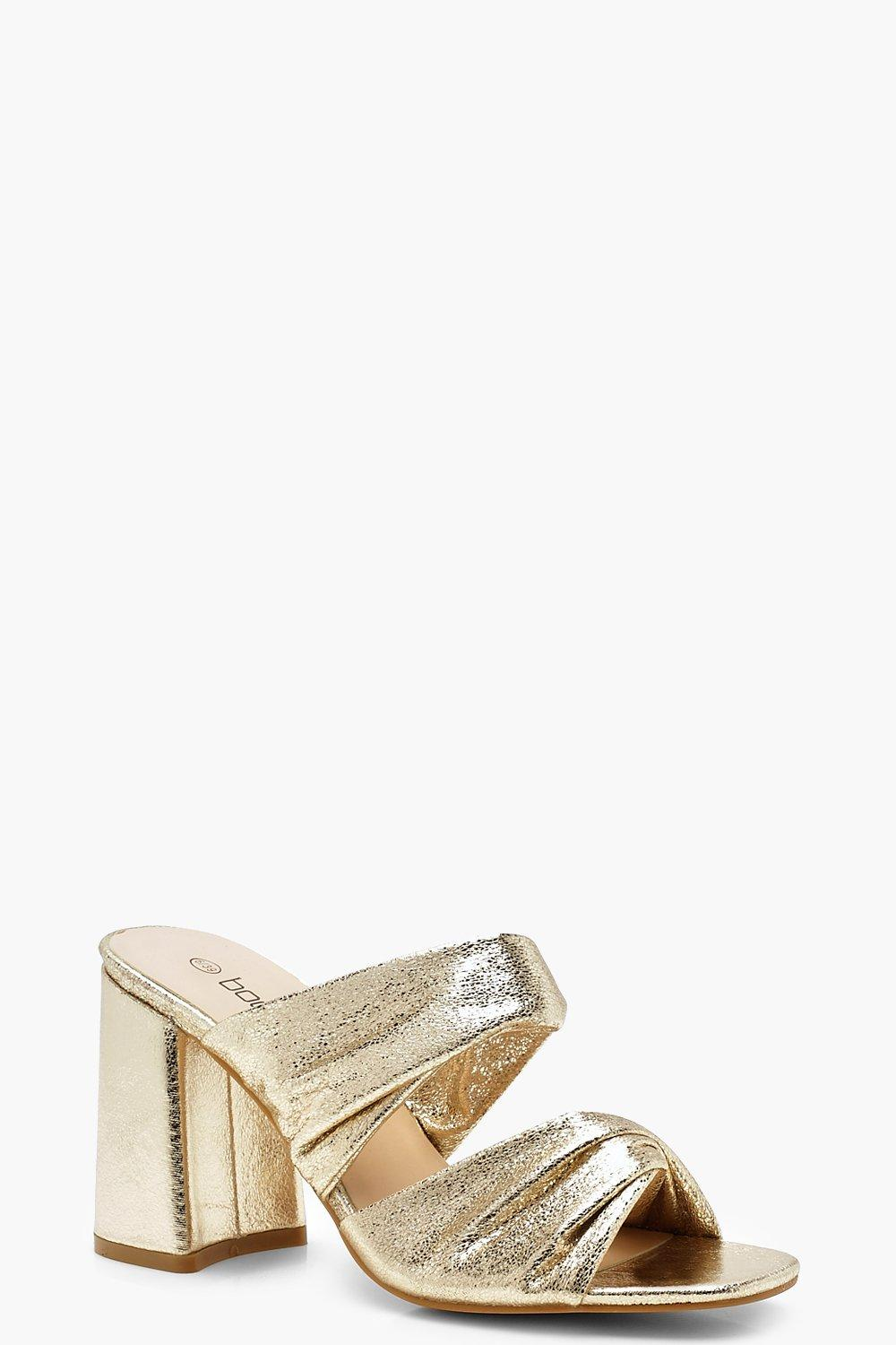 Metallic Flared Heel Mules