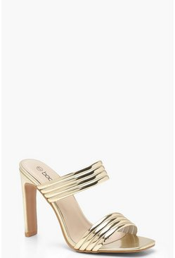 Gold Metallic Double Band Flat Heel Mules