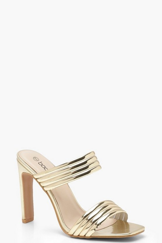 Metallic Double Band Flat Heel Mules