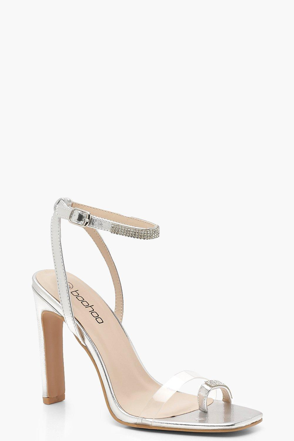 Flat Heel Clear and Diamante Sandals