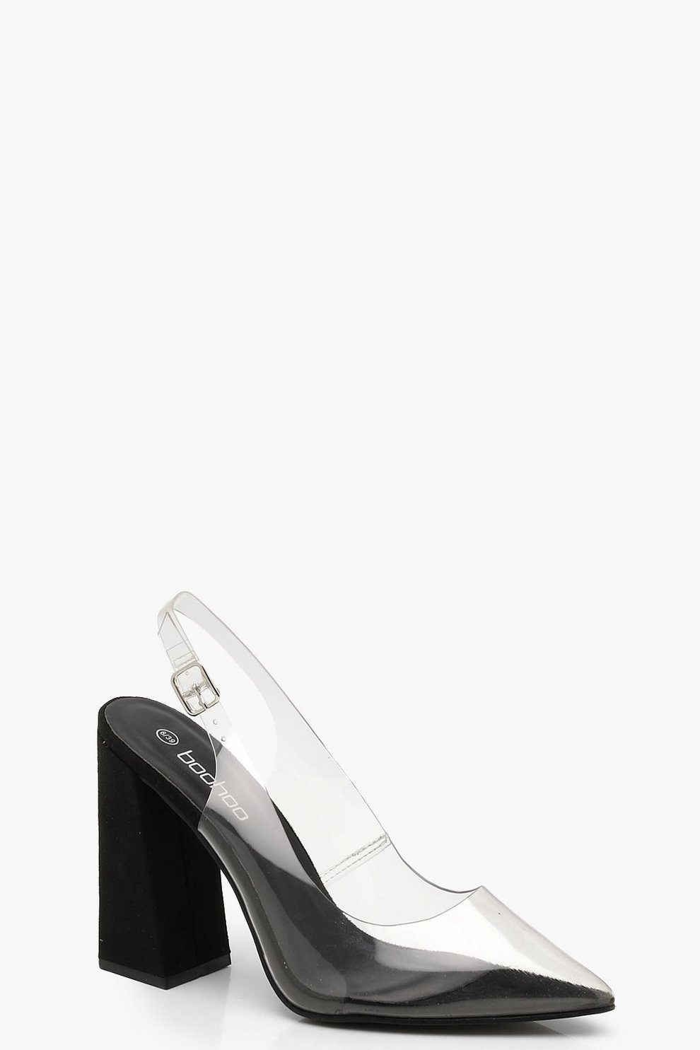8f07dd17ee9 Clear Block Heel Pointed Court Shoes