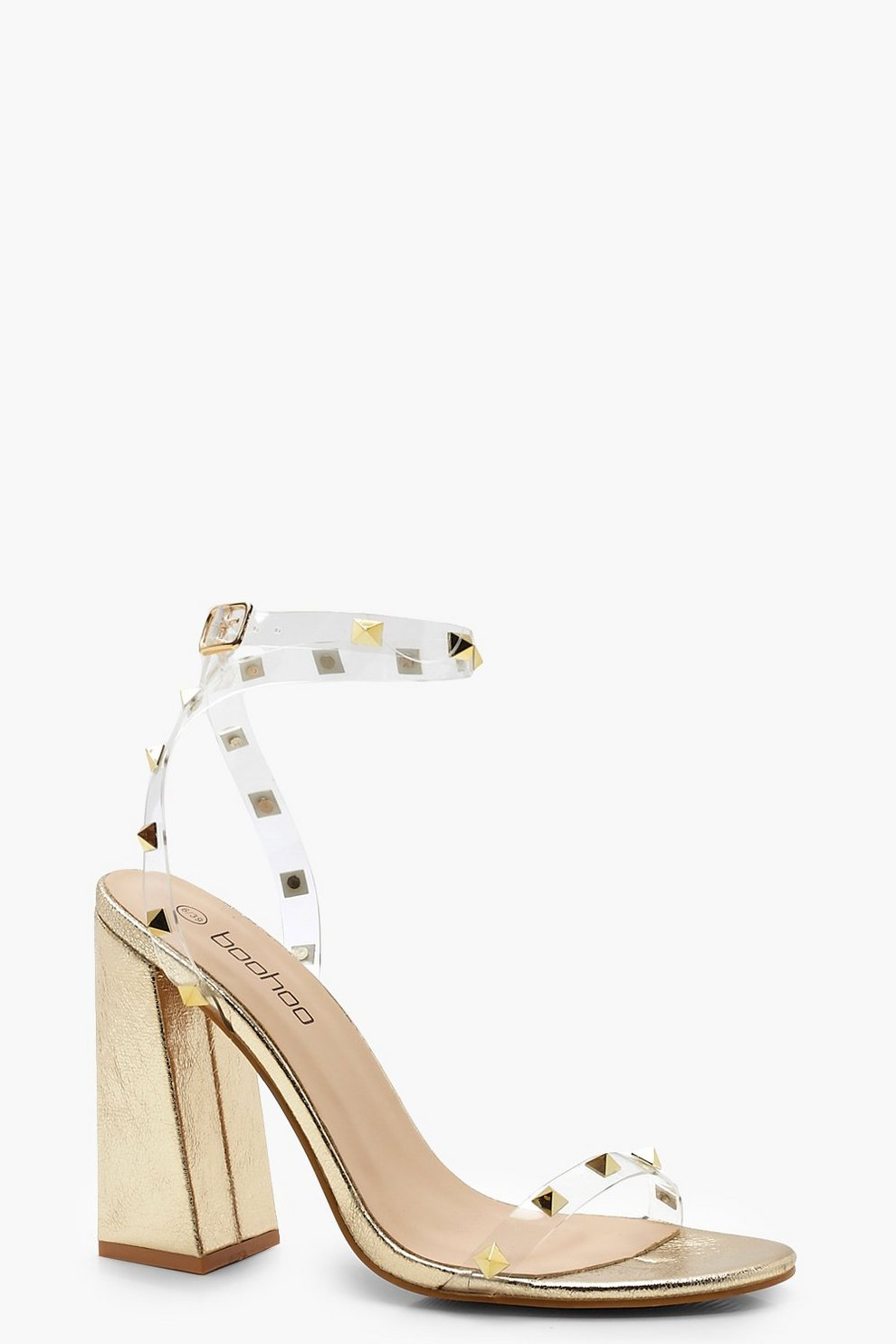59a8cb56f5 Womens Gold Block Heel Metallic Stud and Clear Heels. Hover to zoom