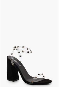 Womens Black Clear and Stud Block Heels