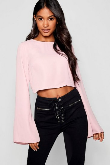 Womens Rose Tie Back Flare Sleeve Top