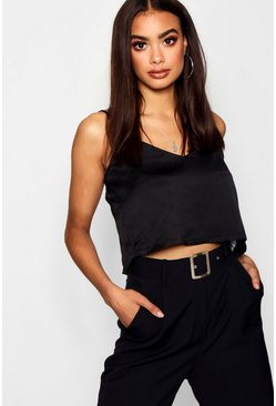 Womens Black Satin Cami