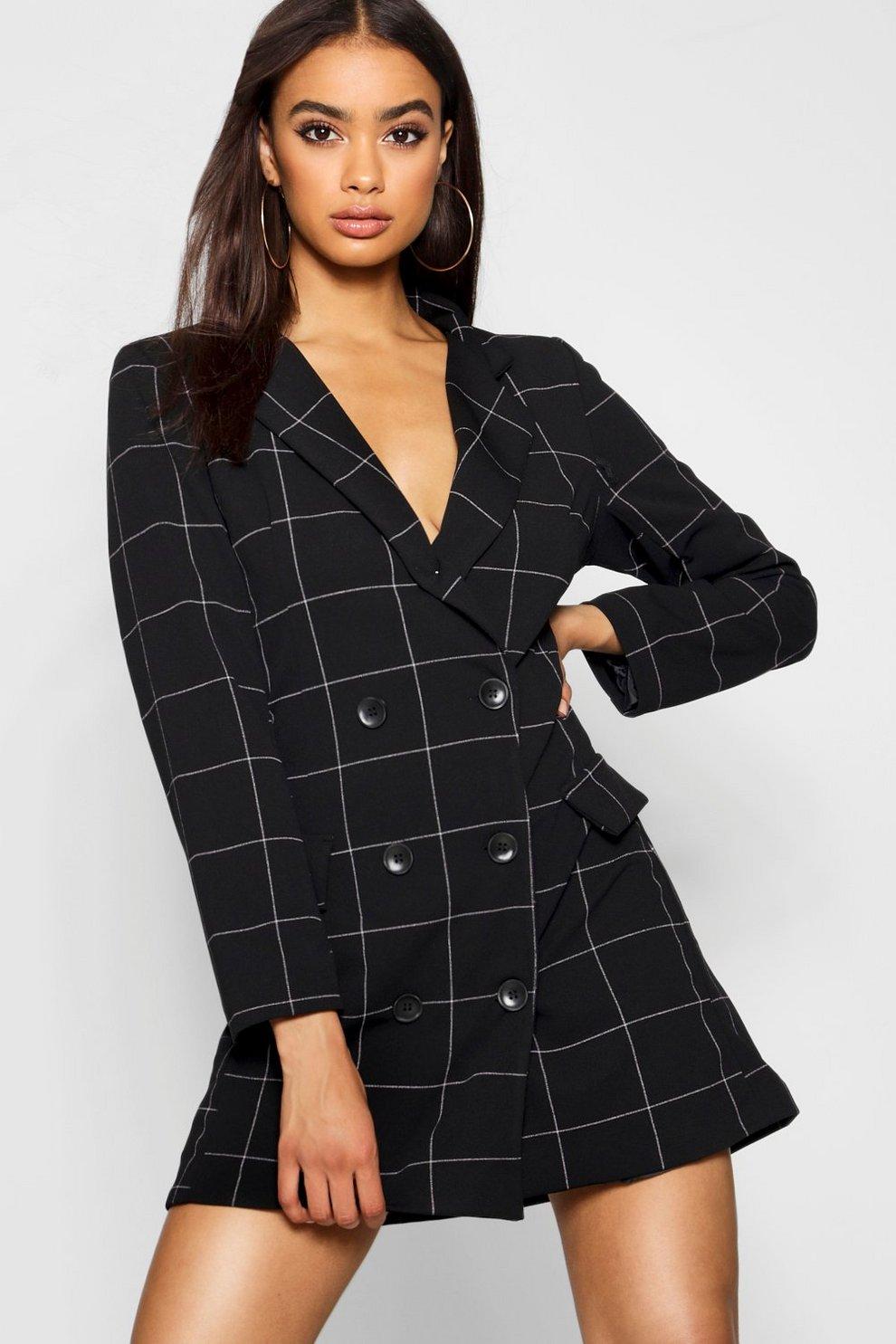 f68e8bb7d2de Womens Black Window Pane Check Blazer Dress