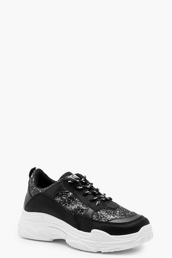 Black Glitter Chunky Sole Trainers