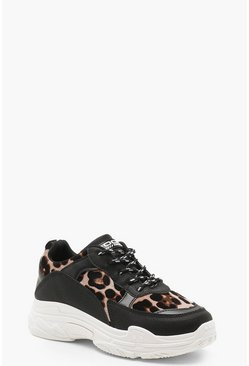 Womens Leopard Chunky Sole Trainers