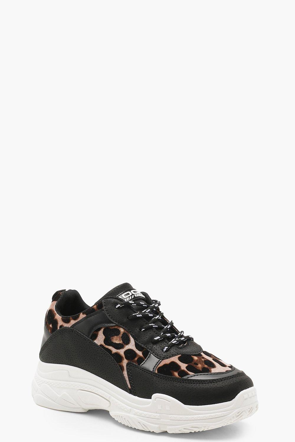 6872a41450258 Womens Leopard Chunky Sole Trainers. Hover to zoom