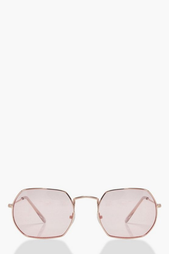 Womens Pink Coloured Lens Vintage Hexagon Sunglasses