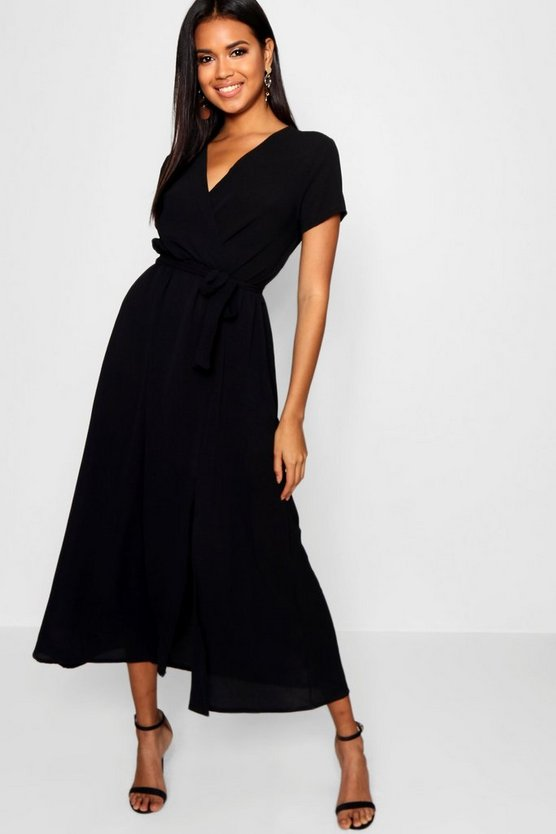 Womens Black Wrap Maxi Dress