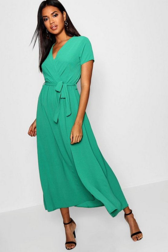 Womens Green Wrap Maxi Dress