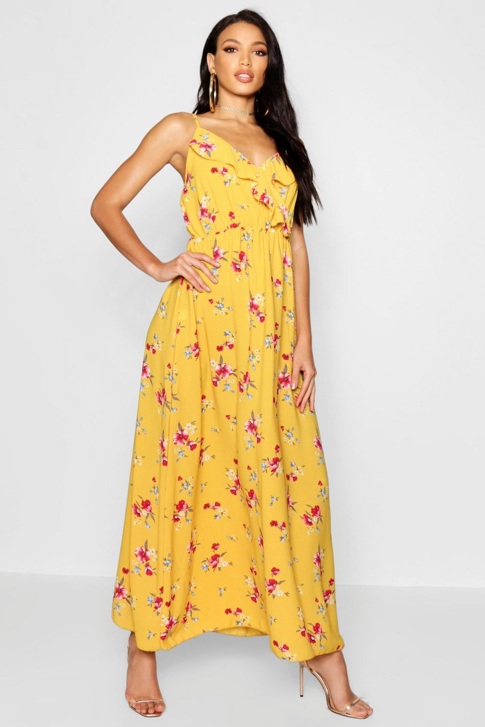 5cff7d12635 Floral Print Ruffle Maxi Dress