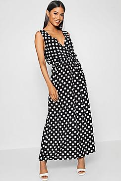 Polka Dot Dresses: 20s, 30s, 40s, 50s, 60s Large Scale Polka Dot Print Wrap Maxi Dress $50.00 AT vintagedancer.com