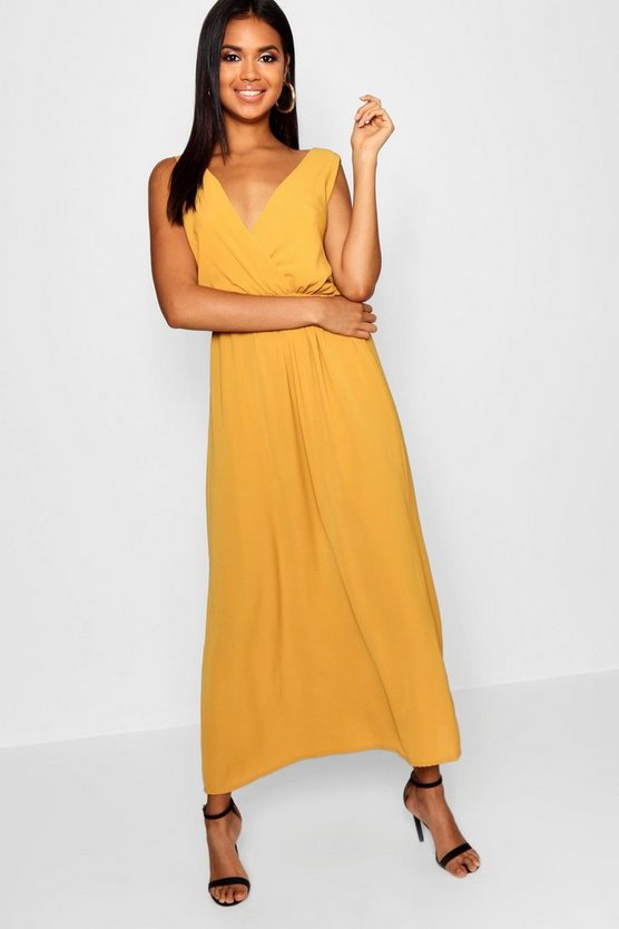 Woven Wrap Front Maxi Dress