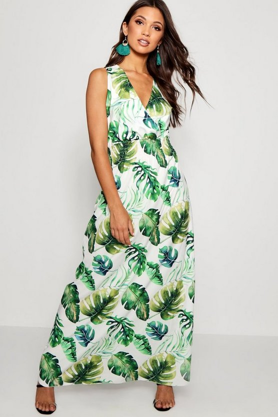 Womens White Tropical Print Wrap Front Maxi Dress
