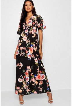 Cap Sleeve Shirred Waist Floral Maxi Dress, Black, ЖЕНСКОЕ