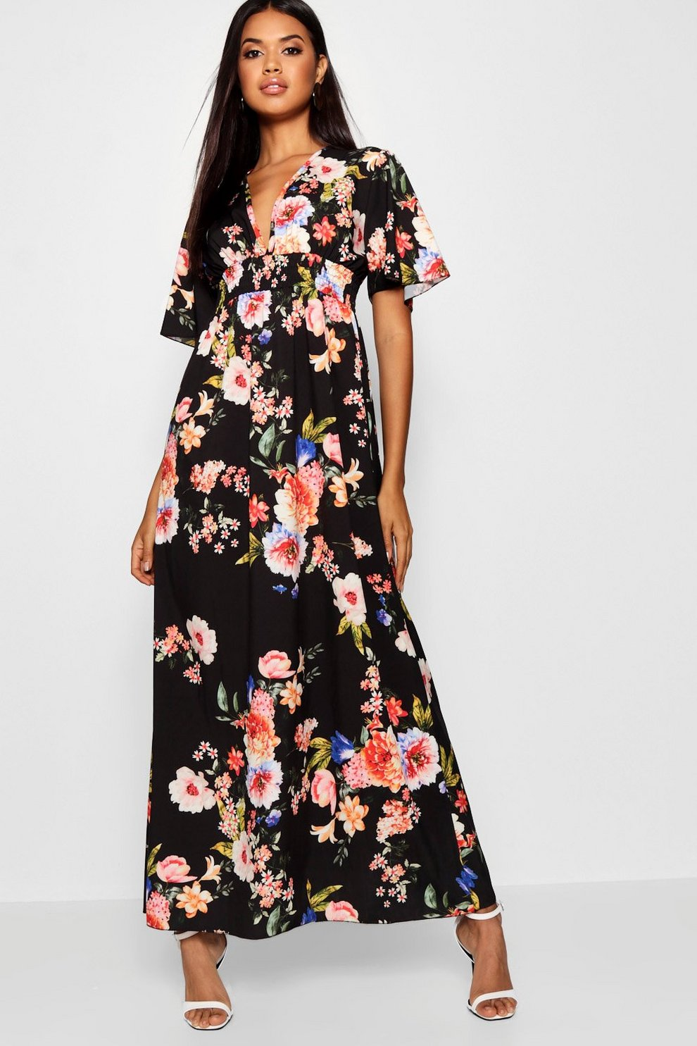 Cap Sleeve Shirred Waist Floral Maxi Dress Boohoo