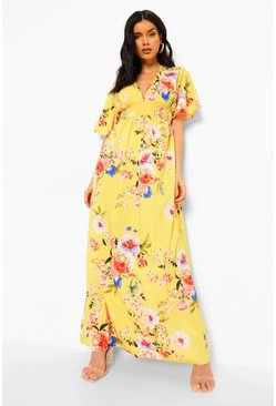 Cap Sleeve Shirred Waist Floral Maxi Dress, Mustard