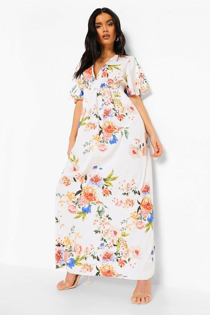 Blommig klänning med veckad midja | boohoo
