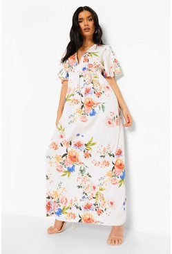 Cap Sleeve Shirred Waist Floral Maxi Dress, White, ЖЕНСКОЕ