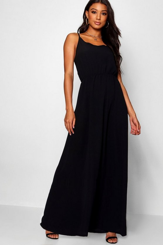 Womens Black Strappy Woven Maxi Dress
