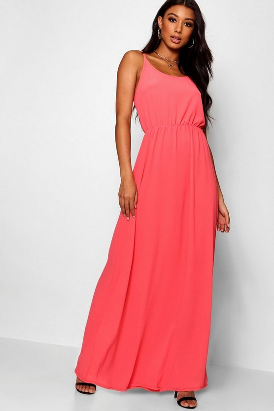 Womens Coral Strappy Woven Maxi Dress