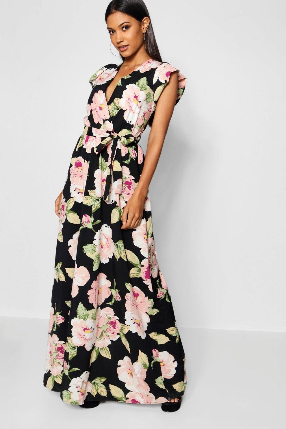 32f9d76456b0e7 Premium Rose Print Wrap Maxi Dress | Boohoo