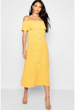 Womens Mustard Frill Bandeau Hem Button Maxi Dress