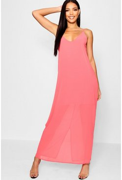 Coral Chiffon Layered Maxi Dress