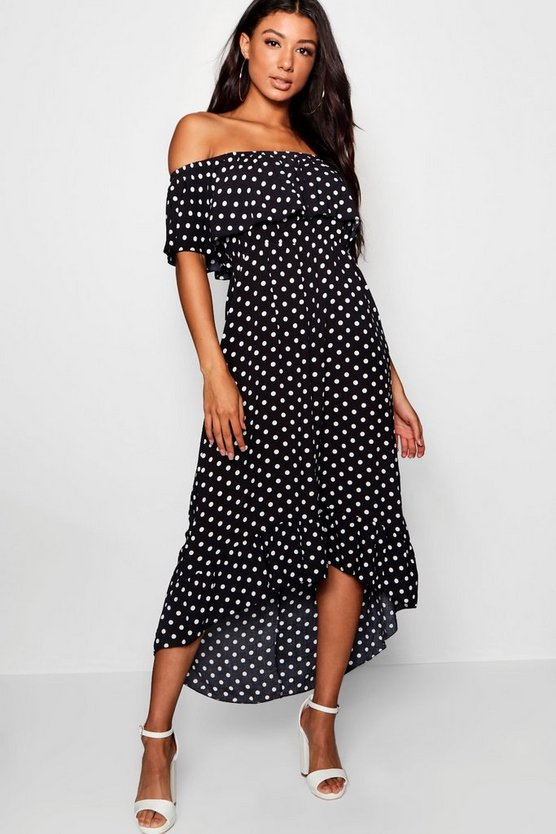 Womens Black Woven Polka Dot Print Bardot Maxi Dress